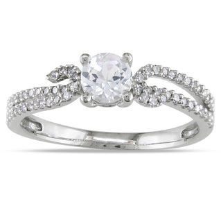 Miadora 14k White Gold White Sapphire and 1/4ct TDW Diamond Ring