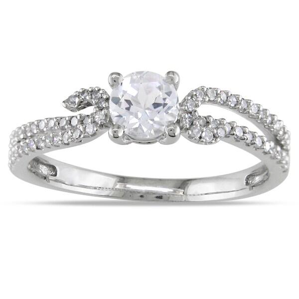 Miadora 14k White Gold Round-cut White Sapphire and 1/4ct TDW Diamond Ring