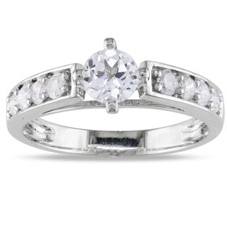 Miadora 14k White Gold White Sapphire and 3/8ct TDW Diamond Ring (H-I, I2-I3)