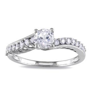 Miadora 14k White Gold White Sapphire and 1/4ct TDW Diamond Ring (G-H, I1-I2)
