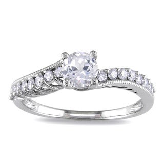 Miadora 14k White Gold White Sapphire and 1/4ct TDW Diamond Ring (G-H, I1-I2)