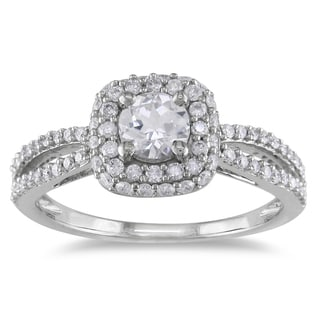 Miadora 14k White Gold White Sapphire and 1/2ct TDW Diamond Ring (G-H, I1-I2)