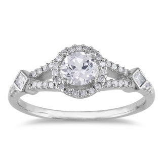 Miadora 14k White Gold White Sapphire and 1/4ct TDW Diamond Ring (G-H, I1-I2))