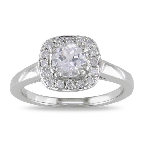 Miadora 14k White Gold White Sapphire and 1/6ct TDW Diamond Ring (G-H, I1-I2)