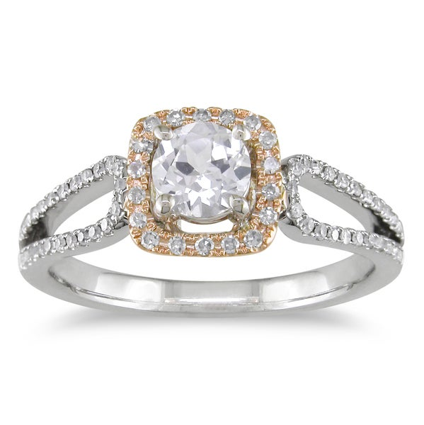 Miadora 14k Two-tone Gold White Sapphire and 1/5ct TDW Diamond Ring