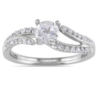 Miadora 18k White Gold White Sapphire and 1/5ct TDW Diamond Ring (H-I, SI2-SI3)