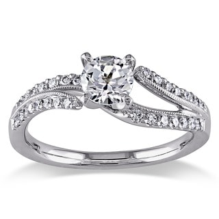 Miadora Signature Collection 18k White Gold White Sapphire and 1/5ct TDW Diamond Ring (H-I, SI2-SI3)