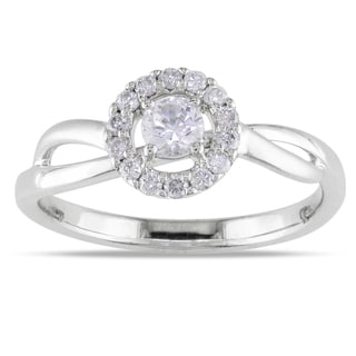 Miadora 18k White Gold White Sapphire and 1/6ct TDW Diamond Ring (G-H, SI1-SI2)