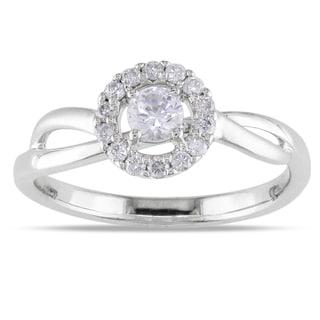 Miadora 18k White Gold White Sapphire and 1/6ct TDW Diamond Ring (G-H, SI1-SI2)