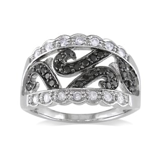 Miadora 14k White Gold 1/2ct TDW Black-and-white Round-cut Diamond Ring (G-H, I1-I2)