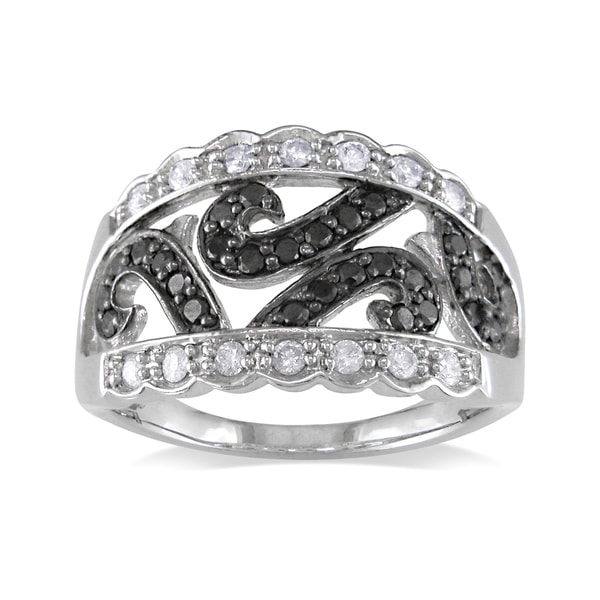 Miadora 14k White Gold 1/2ct TDW Black-and-white Round-cut Diamond Fashion Ring (G-H, I1-I2)