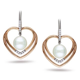 Miadora Two-tone Silver Pearl and 1/10ct TDW Diamond Earrings (H-I,I2-I3)
