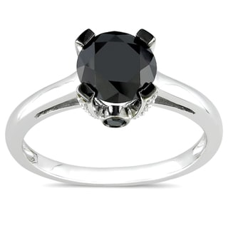 Miadora 10k White Gold 1 1/8ct TDW Black and White Diamond Ring (H-I, I2-I3)