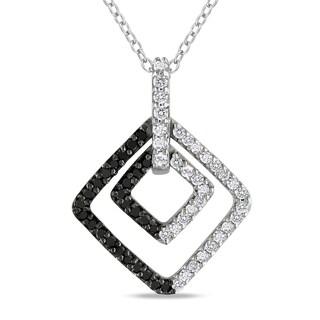 Miadora Sterling Silver 1/2ct TDW Black and White Diamond Necklace (H-I, I2-I3)