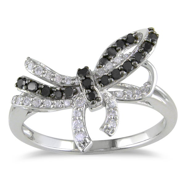Miadora 10k White Gold 1/3ct TDW Black and White Diamond Bow Ring (H-I, I2-I3)