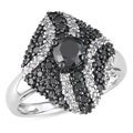 Miadora 10k White Gold 7/8ct TDW Black and White Diamond Ring (H-I, I2-I3)