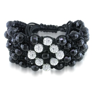 Miadora Crystal and Cubic Zirconia Macrame Bracelet