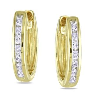 Miadora 14k Yellow Gold 1/4ct TDW Diamond Hoop Earrings (H-J, I1-I2)