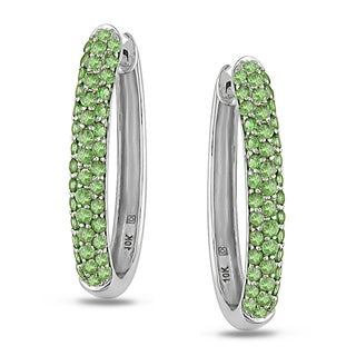 Miadora 14k White Gold Green Garnet Hoop Earrings