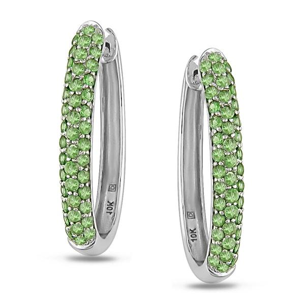 Miadora 14k White Gold Green Garnet Hoop Earrings