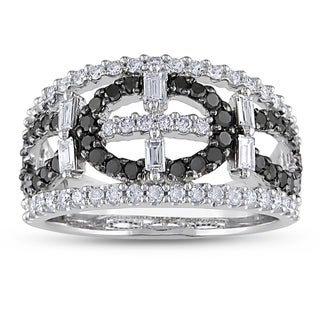 Miadora Signature Collection 14k White Gold 1 1/5ct TDW Black and White Diamond Ring (G-H, I1-I2)