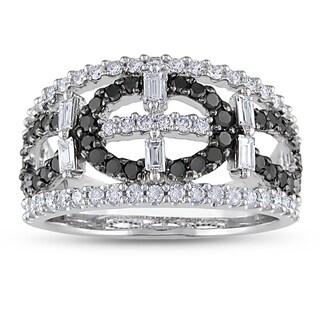Miadora 14k White Gold 1 1/5ct TDW Black and White Diamond Ring (G-H, I1-I2)