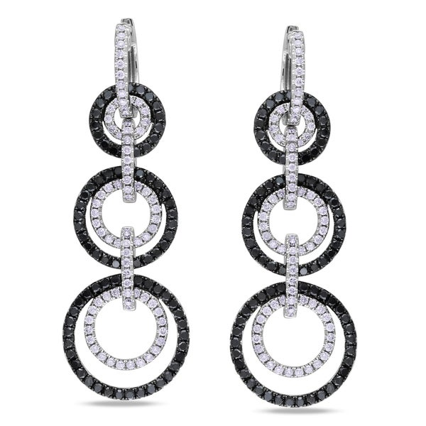 Miadora 14k White Gold 3ct TDW Black and White Linear Diamond Earrings