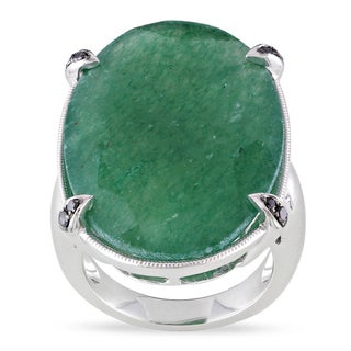 Miadora Sterling Silver Aventurine and 1/10ct TDW Diamond Cocktail Ring