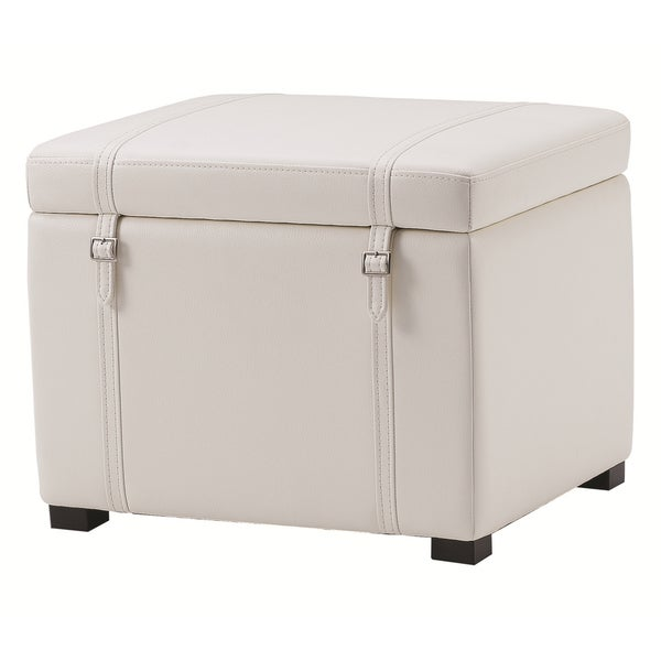 Sunpan Voyager Ivory Bonded Leather Ottoman