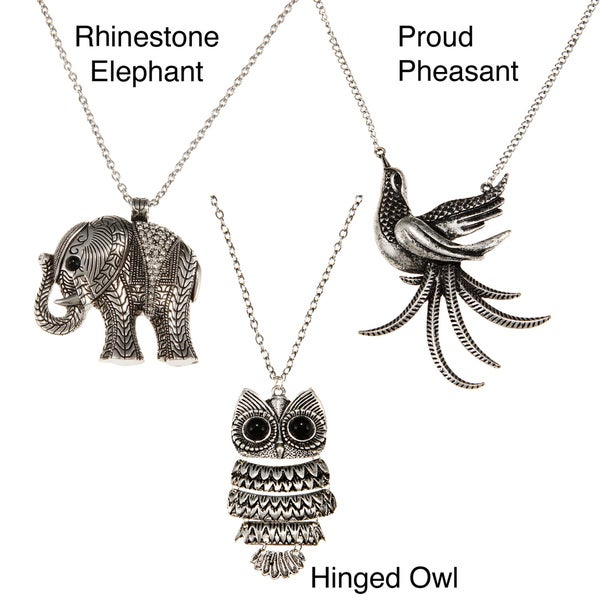 Antiqued Silver Metal Animal Link Chain Necklace (Thailand)