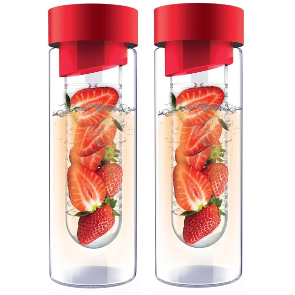 Flavour It Glass Water Bottle with Fruit Infuser, 2-Pack (Red/Red)