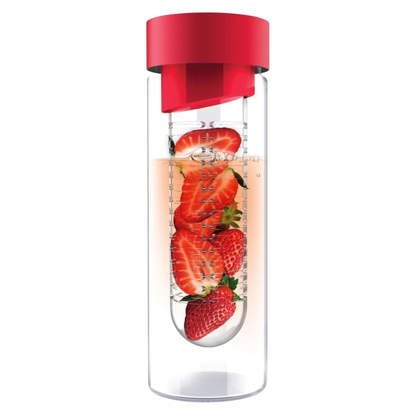 Flavour It Red Glass Water Bottle with Fruit Infuser