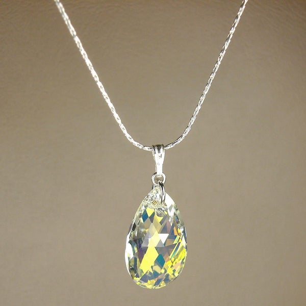 Jewelry by Dawn Large Crystal Aurora Borealis Pear Sterling Silver Necklace