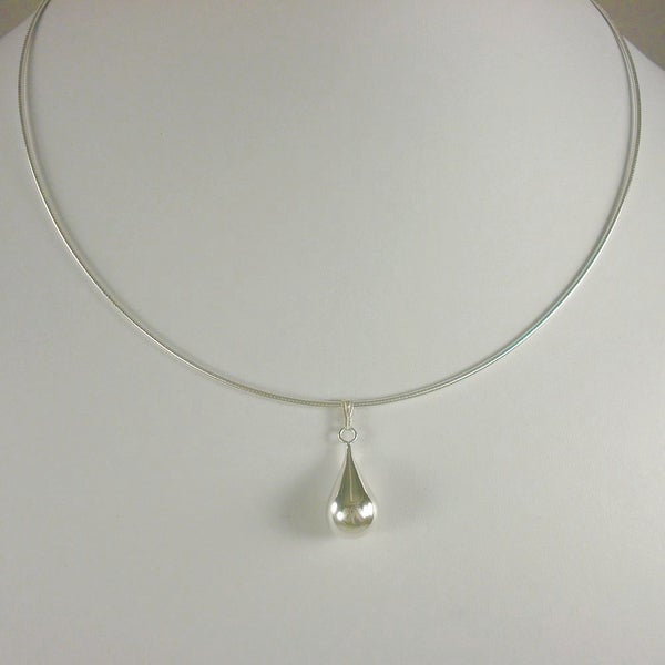 Jewelry by Dawn Large Solid Teardrop Sterling Silver Omega Chain Necklace