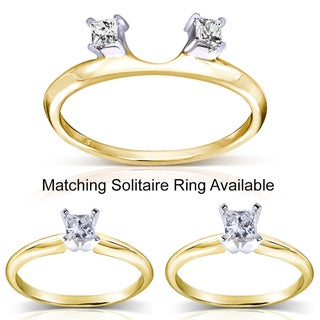 Annello 14k Gold 1/10 to 3/8ct TDW Diamond Wrap or Princess-cut Solitaire Ring (H-I, I1-I2)