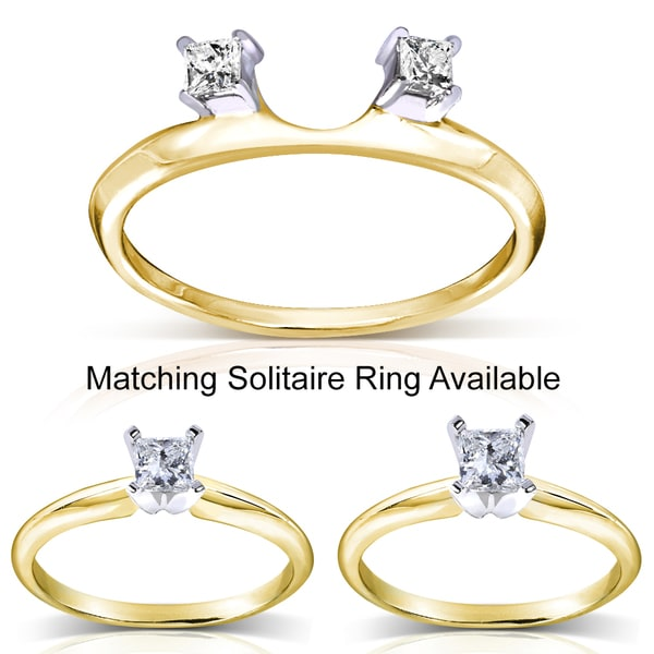 Annello 14k Two-tone Gold Princess Cut Diamond Wrap or Princess Cut Solitaire Ring (H-I, I1-I2)