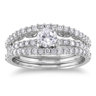 Miadora 14k White Gold Sapphire and 3/5ct TDW Diamond Bridal Ring Set (G-H, I1-I2)