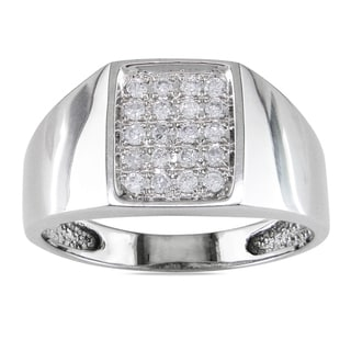 Miadora 14k White Gold 1/4ct TDW Diamond Mens Ring (G-H, I1-I2)