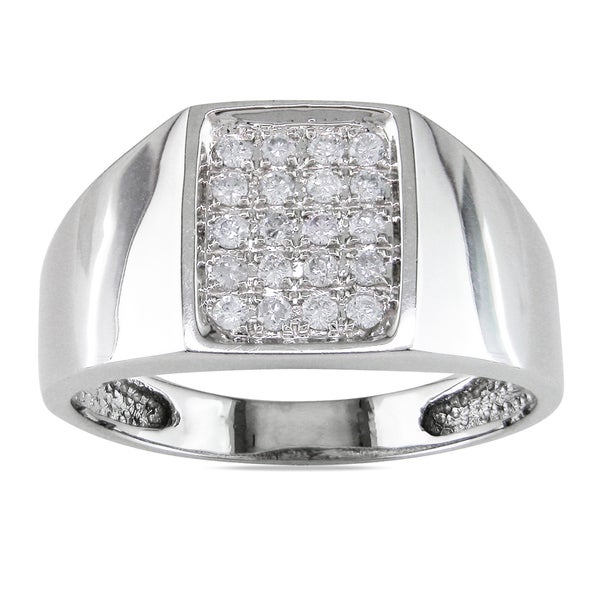 Miadora 14k White Gold 1/4ct TDW Diamond Mens Ring (G-H, I1-I2)