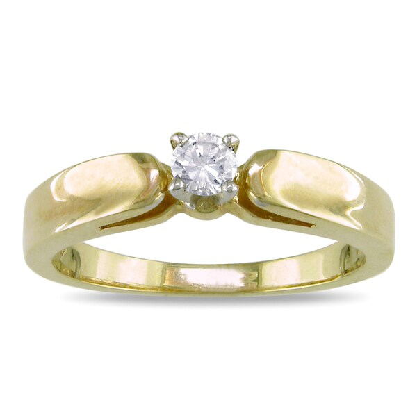 Miadora 14k Two-tone Gold 1/10ct TDW Diamond Ring (H-I, I2-I3)