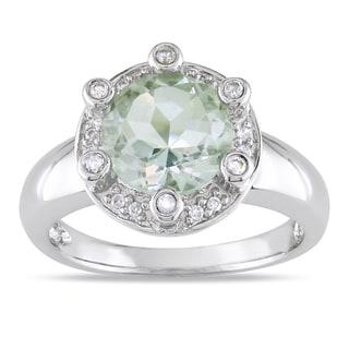 Miadora 14k White Gold Green Amethyst 1/5ct TDW Diamond Ring (G-H, I1-I2)