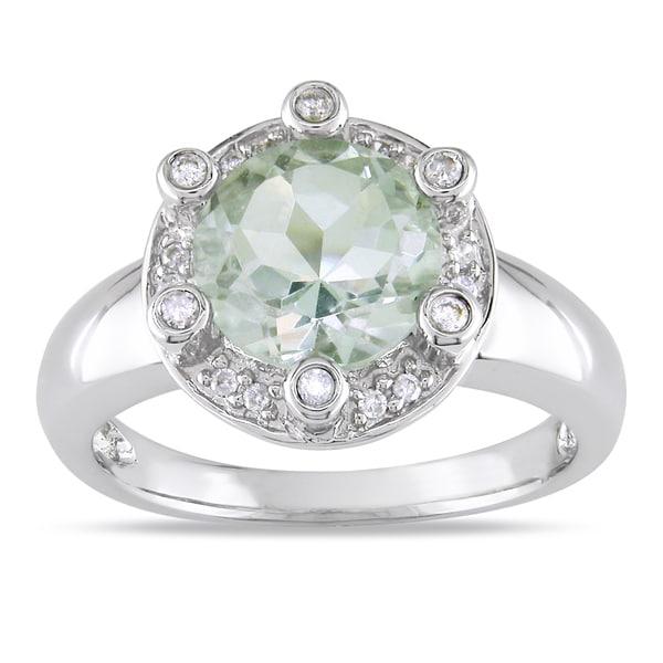 Miadora Signature Collection 14k White Gold Green Amethyst 1/5ct TDW Diamond Ring (G-H, I1-I2)