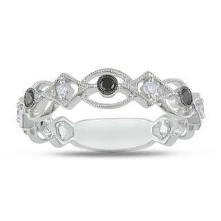 Miadora 18k White Gold 1/5ct TDW Black and White Diamond Ring