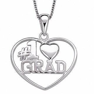 Sterling Silver #1 Grad Graduation Heart Necklace