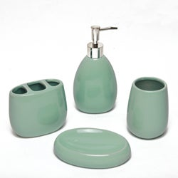 Waverly Aqua Ceramic Bath Accessory 4-piece Set