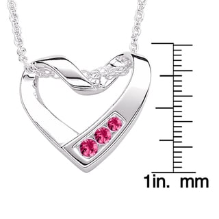 Sterling Silver Crystal Birthstone Heart Necklace