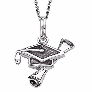 Sterling Silver Diploma and Mortar Board Graduation Necklace