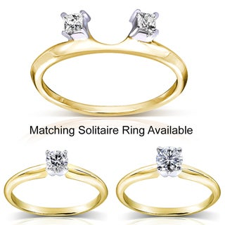 Annello 14k Two-tone Gold 1/10 to 1ct TDW Diamond Wrap or Round-cut Solitaire Ring (H-I, I1-I2)