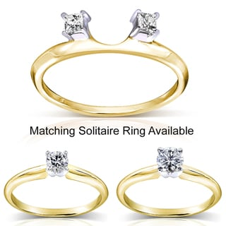 Annello 14k Two-tone Gold Princess Cut Diamond Wrap or Round Cut Solitaire Ring (H-I, I1-I2)