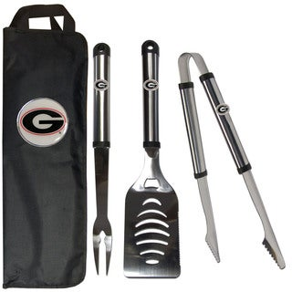 NCAA 3-piece Stainless Steel Barbecue Set with Canvas Case